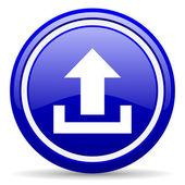 Upload blue glossy icon on white background — Stock Photo
