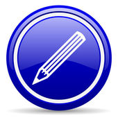 Pencil blue glossy icon on white background — Stock Photo