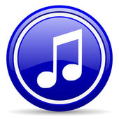 Music blue glossy icon on white background — Foto Stock