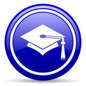 Beyaz zemin üzerine mezuniyet mavi parlak simgesi — Stok fotoğraf
