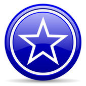 Star blue glossy icon on white background — Stock Photo