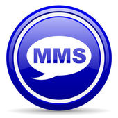 Mms blue glossy icon on white background — 图库照片