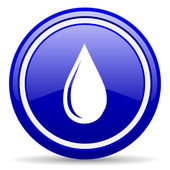 Water drop blue glossy icon on white background — Stock Photo