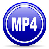 Mp4 blue glossy icon on white background — Stock Photo