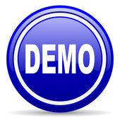 Demo blue glossy icon on white background — Stock Photo