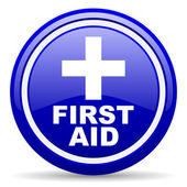 First aid blue glossy icon on white background — Stockfoto