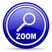 Zoom blue glossy icon on white background — Stock Photo