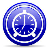 Alarm clock blue glossy icon on white background — Stock Photo