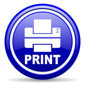 Print blue glossy icon on white background — Stockfoto