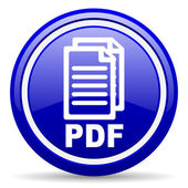 Pdf blue glossy icon on white background — Stock Photo