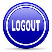 Logout blue glossy icon on white background — Stock Photo