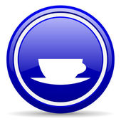Coffee cup blue glossy icon on white background — Stock Photo