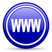 Www blue glossy icon on white background — Stock Photo