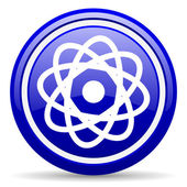 Atom blue glossy icon on white background — 图库照片