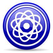 Atom blue glossy icon on white background — Stock Photo