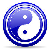 Ying yang blue glossy icon on white background — 图库照片