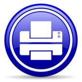 Drukarki niebieski ikona na białym tle — Zdjęcie stockowe