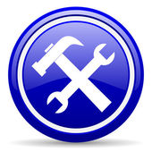Tools blue glossy icon on white background — 图库照片