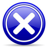 Cancel blue glossy icon on white background — 图库照片