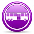 Bus violet glossy icon on white background — Zdjęcie stockowe