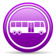 Bus violet glossy icon on white background — Lizenzfreies Foto