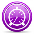 Alarm clock violet glossy icon on white background — 图库照片