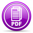 Pdf violet glossy icon on white background — Stock Photo