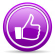 Stock Photo: Thumb up violet glossy icon on white background