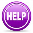 Help violet glossy icon on white background — Stock Photo