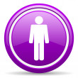 Man violet glossy icon on white background — Stock Photo