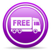 Free delivery violet glossy icon on white background — Stock Photo