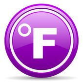Fahrenheit violet glossy icon on white background — Stock Photo