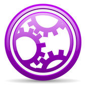 Gears violet glossy icon on white background — Stock Photo