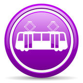 Tram violet glossy icon on white background — Stock Photo
