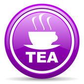 Herbata fiołek ikona na białym tle — Zdjęcie stockowe