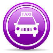 Taxi violet glossy icon on white background — Photo