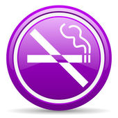 No smoking violet glossy icon on white background — Stock Photo