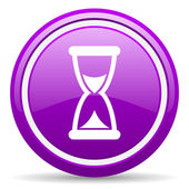Time violet glossy icon on white background — Stock Photo