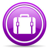 Finanzielle violett glänzend symbol auf weißem hintergrund — Stockfoto