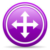 Move arrow violet glossy icon on white background — Stock Photo