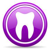 Tooth violet glossy icon on white background — Stock Photo