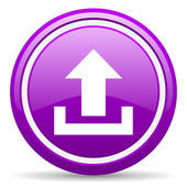 Upload violet glossy icon on white background — Stock Photo