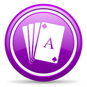 Playing cards violet glossy icon on white background — Stock Photo