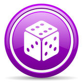 Dice violet glossy icon on white background — Stock Photo