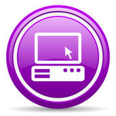 Pc violet glossy icon on white background — Stockfoto