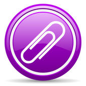 Paper clip violet glossy icon on white background — Stock Photo
