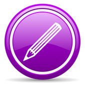 Pencil violet glossy icon on white background — Stock Photo