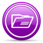 Fioletowy folderu ikona na białym tle — Zdjęcie stockowe