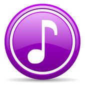 Beyaz arka planda müzik mor parlak simgesi — Stok fotoğraf