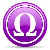 Omega violet glossy icon on white background — Stock Photo